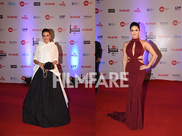 Sunny Leone and Neha Dhupia look oh-so-sexy at the 62nd Jio Filmfare Awards
