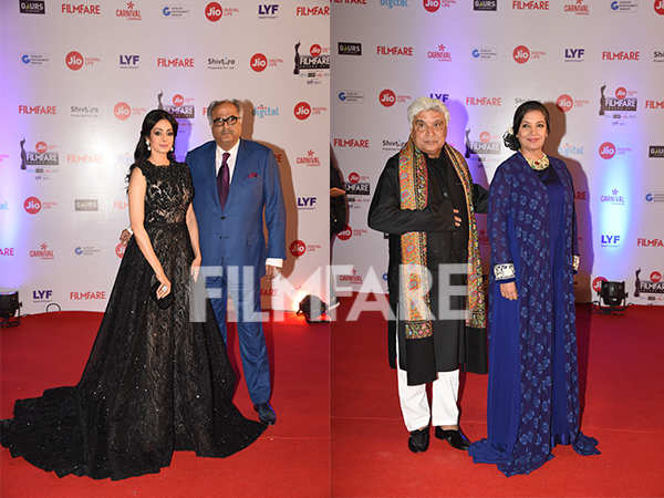 Sridevi - Boney Kapoor and Javed Akhtar - Shabana Azmi grace the Jio Filmfare Awards