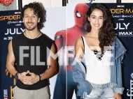 Tiger Shroff snapped with Disha Patani and his family at Spiderman: Homecoming special screening