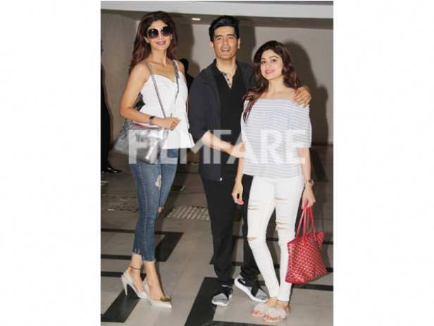 Shilpa Shetty, Manish Malhotra and Shamita Shetty
