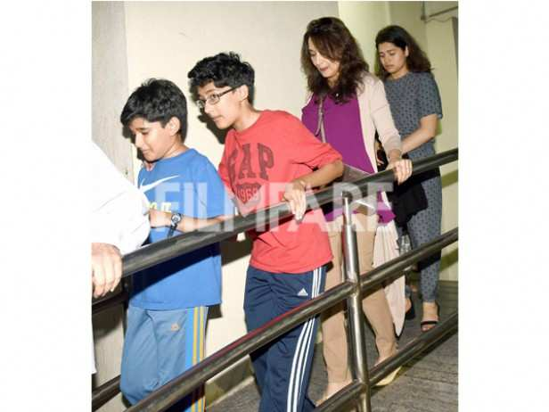 Madhuri Dixit was spotted with sons Rayaan and Arin for a movie outing at a suburban cinema. The actress sons, who are not seen often in public, look all grown up and rather cute. Looks like Madhuri and her sons had a great time during the movie!