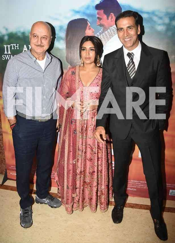 Anupam Kher, Bhumi Pednekar and Akshay Kumar