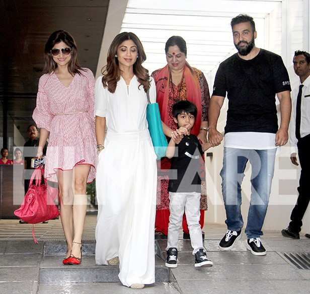 Adorable! Shilpa Shetty and Raj Kundra head out for lunch with their little son Viaan