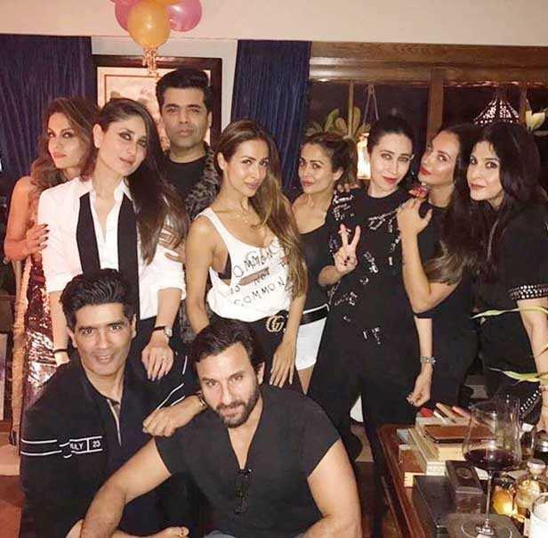 Saif Ali Khan, Manish Malhotra, Kareena Kapoor Khan, Karan Johar, Malaika Arora, Amrita Arora, Karisma Kapoor