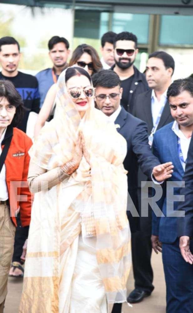 Rekha and Disha Patani reach Udaipur for Isha Ambani's pre-wedding celebrations