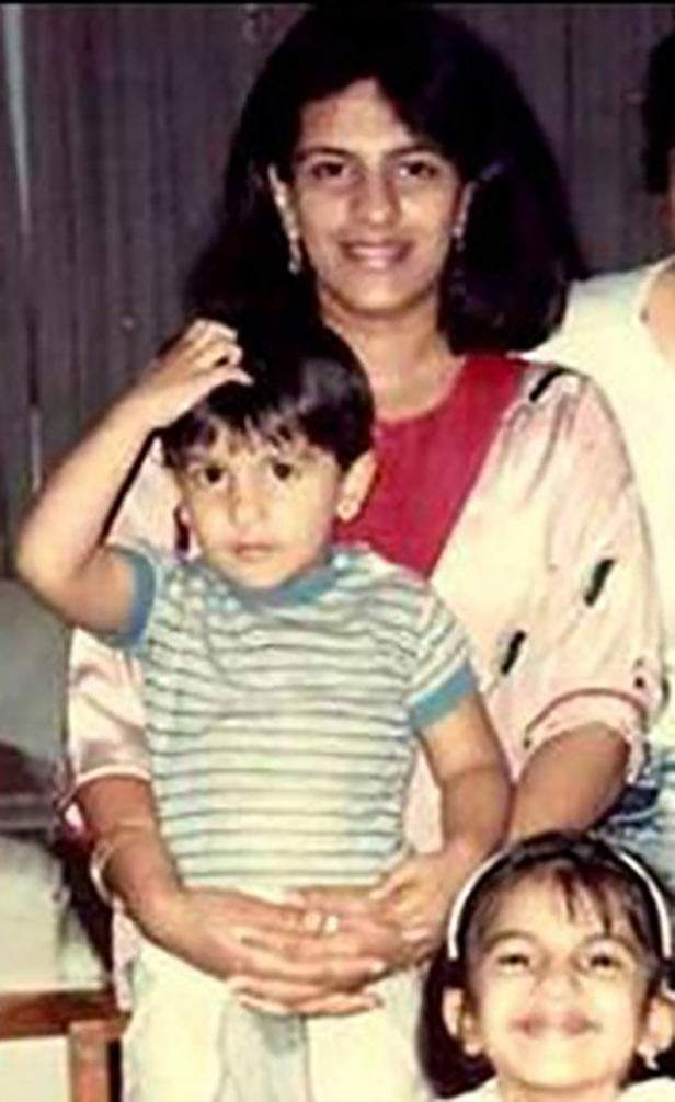 Ranveer Singh with his mother.
