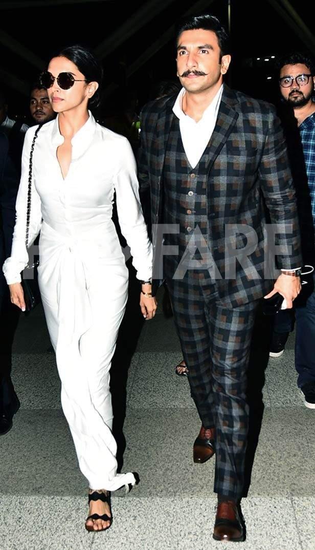 Ranveer Singh clicked with Deepika Padukone at the Mumbai airport