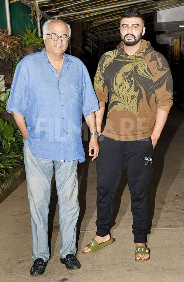 Photos: Arjun Kapoor and Boney Kapoor watch Tamil film Nerkonda Paarvai