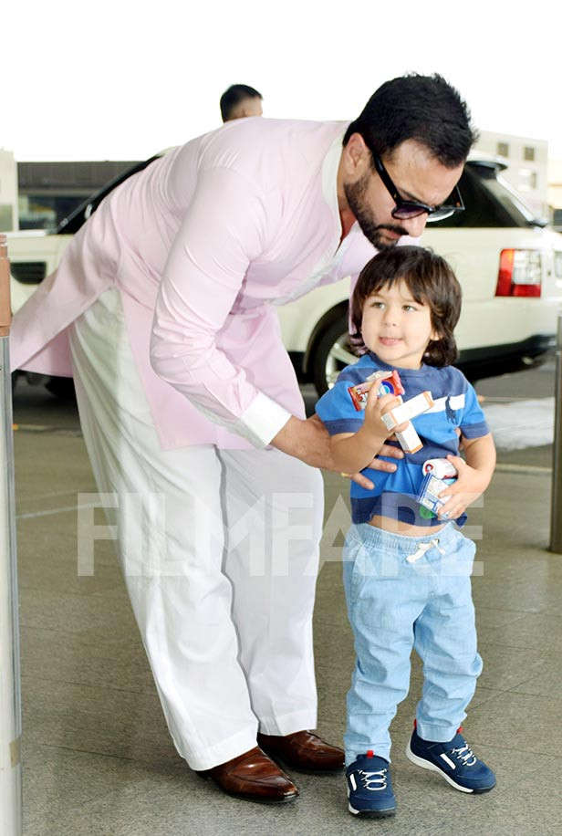 Saif Ali Khan and Taimur Ali Khan spotted at the airport earlier today