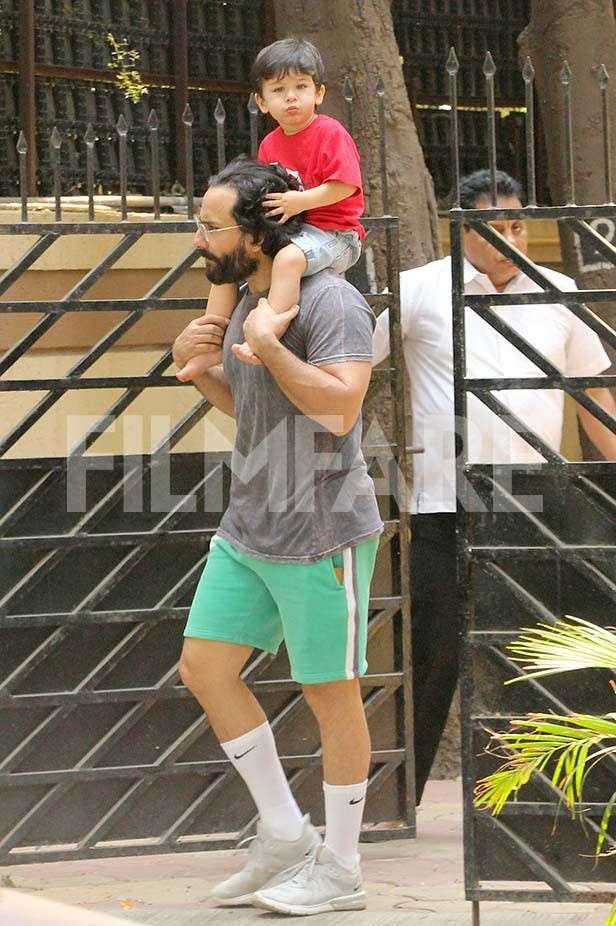 Taimur Ali Khan joins daddy Saif Ali Khan for a Sunday stroll