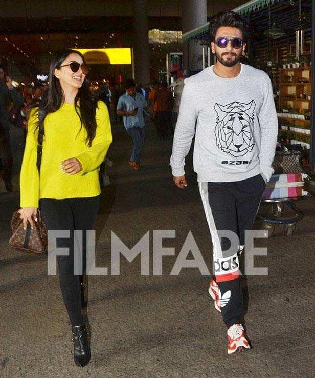 Ranveer Singh and Kiara Advani spotted at the Mumbai airport