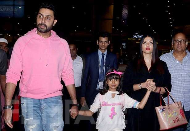 Pictures: Aaradhya, Aishwarya and Abhishek Bachchan return from the States