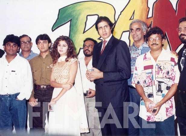 With AR Rahman, Urmila Matondkar, Amitabh Bachchan, Ram Gopal Varma and team Rangeela at the launch of the film. It is one of Aamir's career's biggest successes