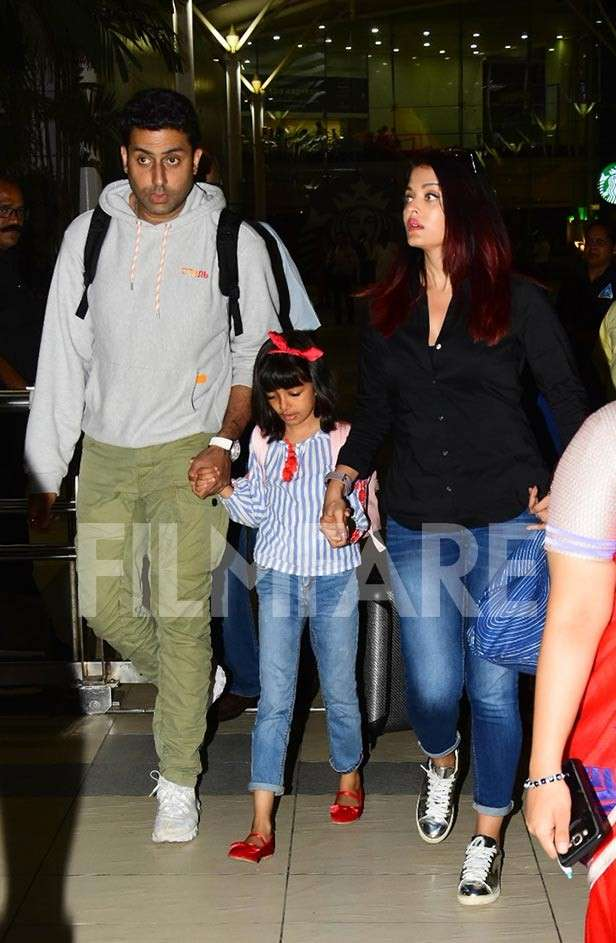 Abhishek, Aishwarya Rai Aaradhya Bachchan spotted at the Mumbai airport