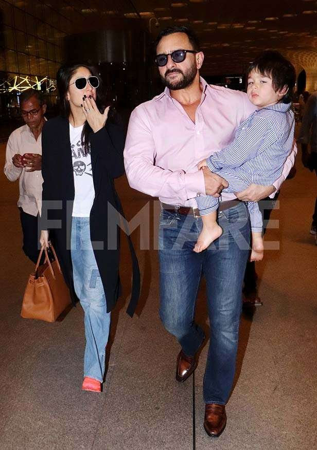 Pictures: Taimur, Kareena and Saif Ali Khan head to London