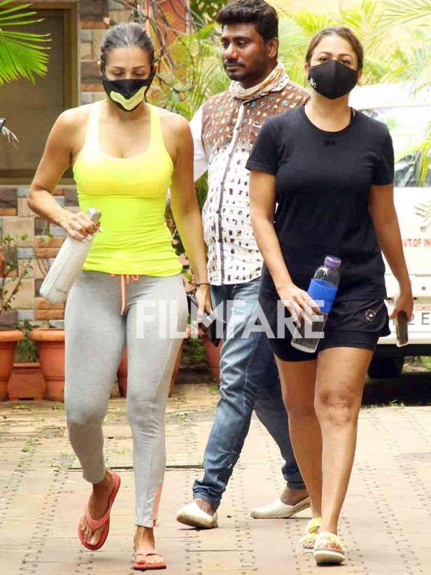 Malaika Arora with Amrita Arora snapped at Diva yoga in Bandra